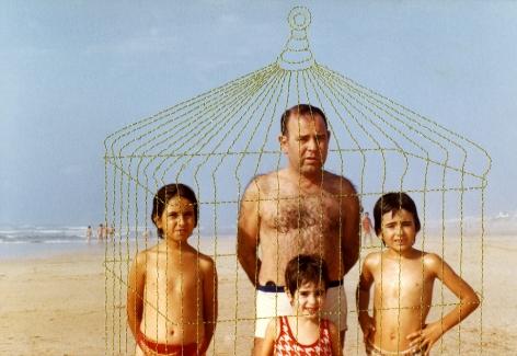 Carolle Bénitah, Photos-Souvenirs, father, children, beach,  la cage dorée (the golden cage), 2012, Sous Les Etoiles Gallery