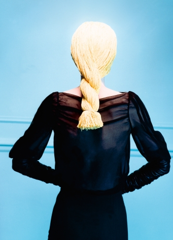 Sophie Delaporte, Early Fashion Work, Model in wig of yellow yarn, Sous Les Etoiles Gallery