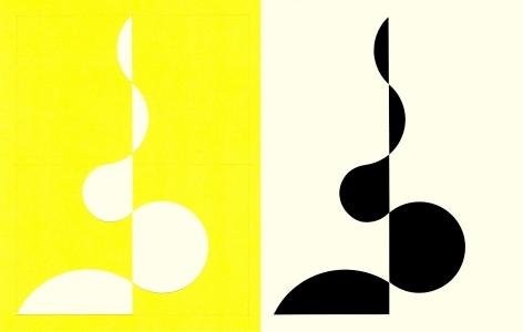 Richard Caldicott, photogram, paper negative, unique, Sous Les Etoiles Gallery, yellow, 2014