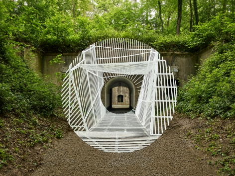 Georges Rousse, anamorphose, architecture, white, Namur, Belgium, Sous Les Etoiles Gallery
