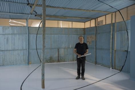 Tracing in structure of Georges Rousse installation - Puntos de Vista, Museo de Arte Contemporáneo Lima, Peru 2018