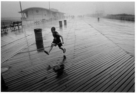 Sous Les Etoiles Gallery, Harvey Stein, Running Boy In Rain, Coney Island