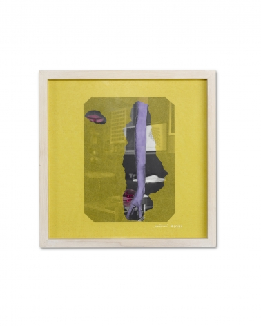 Gianfranco Chiavacci Photographic print with silver salts, colored by hand,  mounted on cardboard and torn yellow tissue paper, vintage, Sous Les Etoiles Gallery