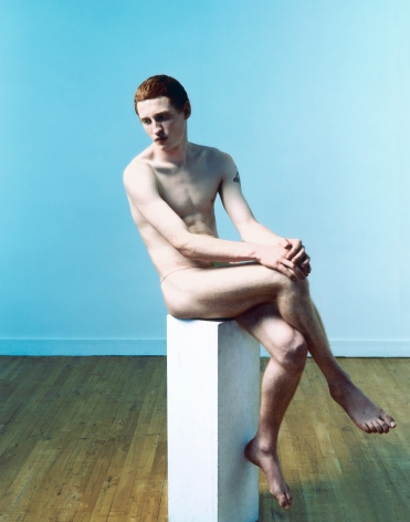 Sophie Delaporte, Early Fashion Work, Nude male sitting, blue,Sous Les Etoiles Gallery