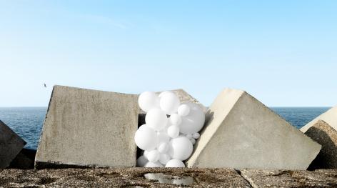 Charles Petillon, white balloon, architecture, landscape, Sous Les Etoiles Gallery,