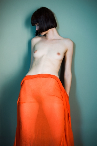 Sophie Delaporte, Nudes, Model with orange fabric as skirt, 2010, Sous Les Etoiles Gallery