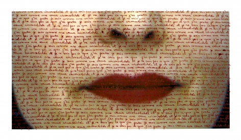 Carolle Bénitah, red lips, love letters, red ink, written by hand, Sous Les Etoiles Gallery