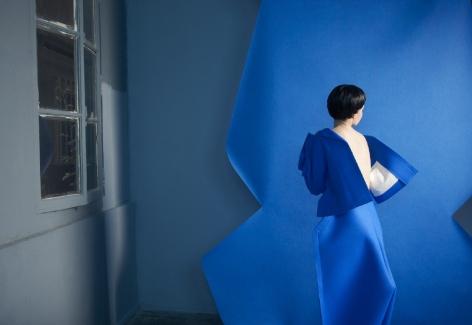 Sophie Delaporte, paper theater, woman in blue, Sous Les Etoiles Gallery