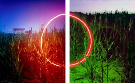 Barry Underwood, Scenes, Cornfield, Sirna's Farm (Diptych), 2013, Sous Les Etoiles Gallery