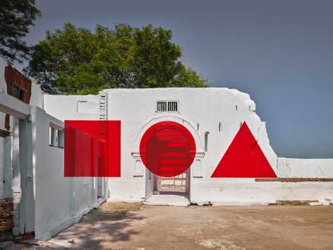 Georges Rousse, anamorphose, architecture, color,Kochi, India, Red, France, Sous Les Etoiles Gallery