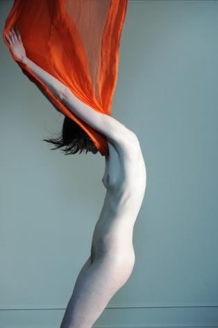 Masha, nude, woman,  orange,  scarf, Sous Les Etoiles Gallery