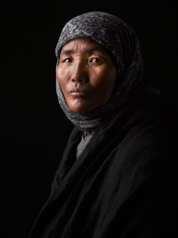 David Zimmerman, One Voice, Portrait of Tsewang Jigedol with beads of sweat on her nose, 2012, Sous Les Etoiles Gallery