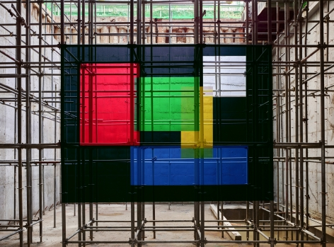 Georges Rousse, anamorphose, architecture, color, green, yellow, red, Seoul, Sous Les Etoiles Gallery