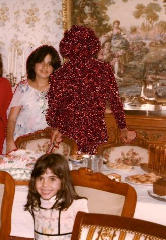 Carolle Bénitah, Photos-Souvenirs, silk thread and glitter, children, mother,  le gouter d'anniversaire (the birthday party), 2012, Sous Les Etoiles Gallery