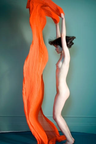 Sophie Delaporte, Nudes, Model jumping with orange fabric, 2010, Sous Les Etoiles Gallery