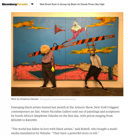 Simphiwe Ndzube featured alongside Amy Sherald, Mark Bradford, Chris Ofili, Sam Gilliam, and Kerry James Marshall in Bloomberg