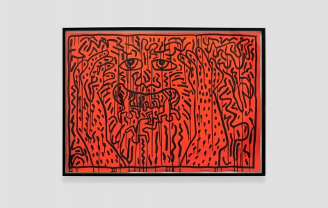 Keith Haring Untitled signed 1983 Painting Nicodim Gallery Los Angeles