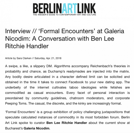 Formal Encounters at Galeria Nicodim: Ben Lee Ritchie Handler interviewed by Sara Clarken for Berlin Art Link