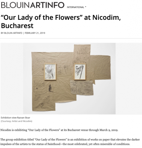 'Our Lady of the Flowers' featured in ArtBlouin Info