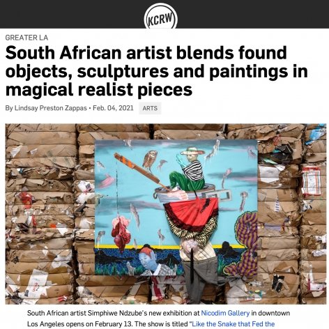 South African artist Simphiwe Ndzube blends found objects, sculptures and paintings in magical realist pieces