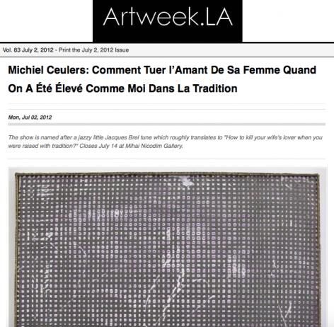 Michiel Ceulers: Comment Tuer l'Amant De Sa Femme Quand On A Été Élevé Comme Moi Dans La Tradition in ArtWeek.LA