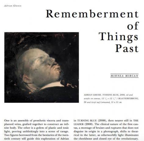 Rememberment of Things Past: Adrian Ghenie
