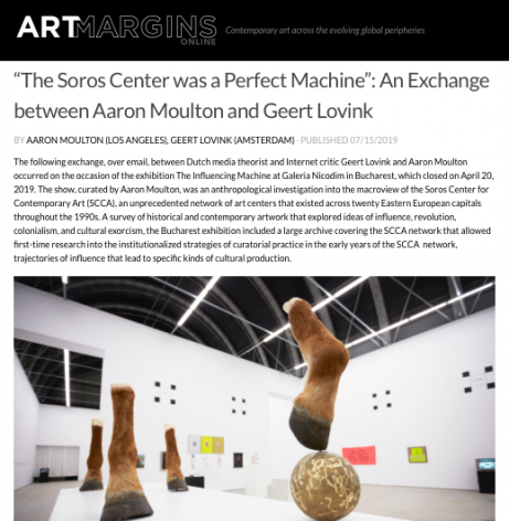 """""""The Soros Center was a Perfect Machine"""" - An Exchange between Aaron Moulton and Geert Lovink"""