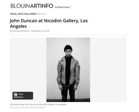 John Duncan featured in Blouin ArtInfo