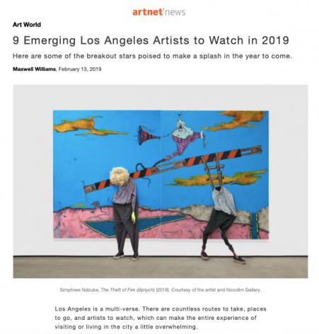 Simphiwe Ndzube featured in 9 Emerging Los Angeles Artists to Watch in 2019 in ArtNet