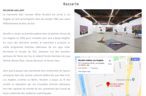 Nicodim Gallery featured in Kozzart's '10 Art Spaces Not to be Missed in Los Angeles'