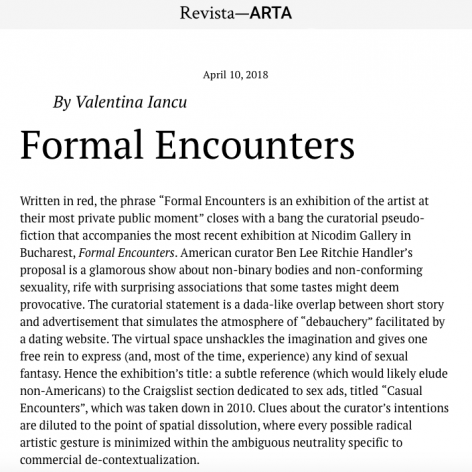 Formal Encounters reviewed by Valentina Iancu in Revista ARTA