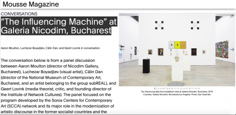 "Conversations: ""The Influencing Machine"" at Galeria Nicodim, Bucharest in Mousse Magazine"
