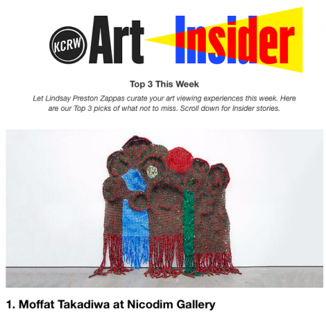 Moffat Takadiwa: Son of the Soil featured in KCRW Art Insider as a Top Show to See