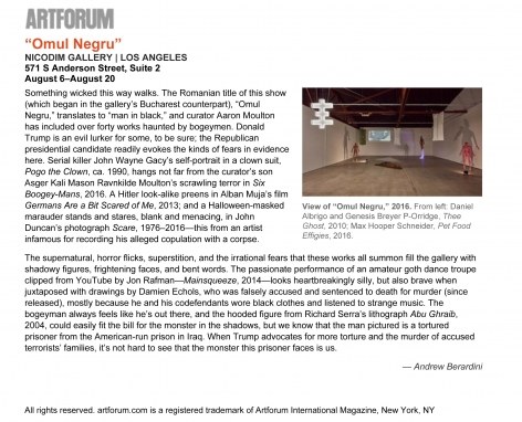 """Omul Negru"" is featured in ArtForum"