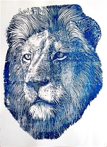 Blue Foil Lion