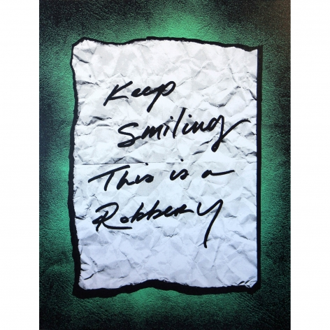 Charles Lutz - robbery note - painting
