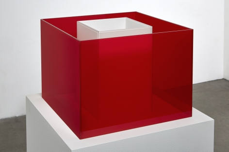 "ALT=""Larry Bell, Untitled Maquette (Cerise / True Blizzard), Laminated glass"""