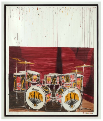 "Dave Muller, ""Empty Drum Kit #3 (K, M)"", 2012, Acrylic on paper"