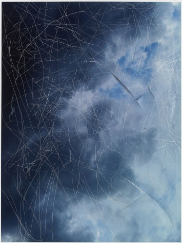 "Jim Hodges, ""study for scratching the sky"", 2011-2012, Scratched and incised archival pigment print"