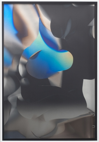 Larry Bell, CS 7.2.16F, 2016, Aluminum and silicon monoxide on Arches black paper mounted on canvas
