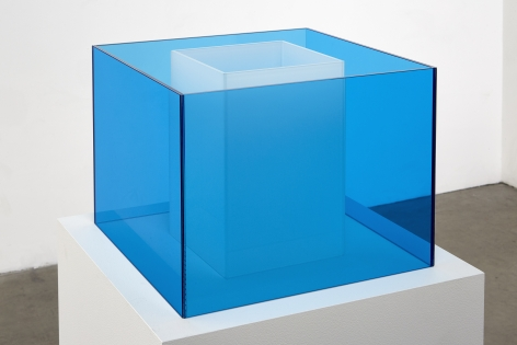 "ALT=""Larry Bell, Untitled Maquette (Capri Blue / True Fog), 2018, Laminated glass cube"""