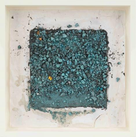 """ALT=""""Leonardo Drew, Number 88SD, 2021, Plaster, paint and soil on paper"""""""