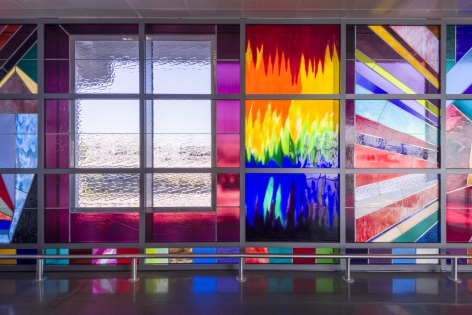 """Sarah Cain, We Will Walk Right Up To the Sun, 2019, Stained glass"""