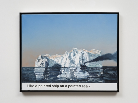 Rob Reynolds  Painted Ship, Painted Sea (Panther), 2019  Oil, alkyd and acrylic polymer paint on canvas in welded aluminum artist's frame  Framed Dimensions:  24 3/4 x 30 3/4 x 2 inches