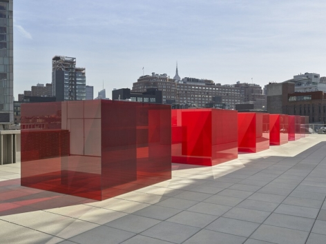 """ALT=""""Larry Bell, Installation view of Pacific Red (V), 2017, Five laminated glass cubes"""""""