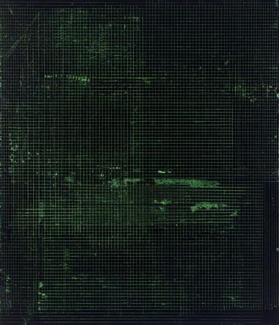 "ALT=""Kate Shepherd, Night in Black and Green, 2016, Etching ink and enamel on wood panel"""