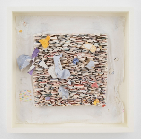 """ALT=""""Leonardo Drew, Number 87SD, 2021, Plaster and paint on paper"""""""