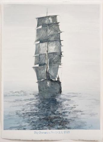 "ALT=""Rob Reynolds, Untitled (Big Bonanza Study 1.2), 2011, Watercolor on rag paper"""