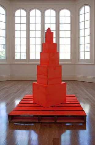 "ALT=""Tony Feher, Orange, 2011, 5 painted cardboard boxes, pallet"""