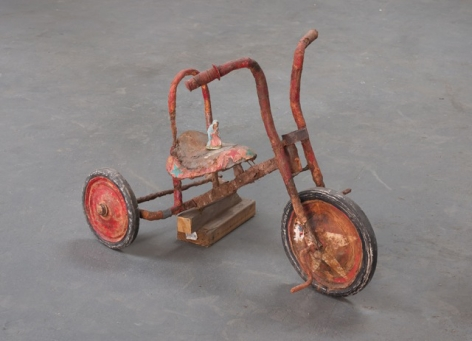 "ALT=""Kristen Morgin, Madonna with Tricycle, 2013, Unfired clay, paint, ink, wood and wire"""
